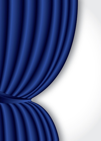 Blue theater silk curtain background with wave