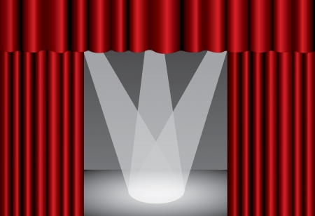 Red theater curtain with spotlight on stage Vector