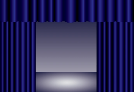 Blue theater curtain with spotlight on stage Vector