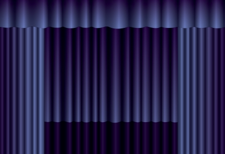 Blue theater silk curtain background with wave Vector