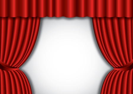 Red theater silk curtain background with wave Vector