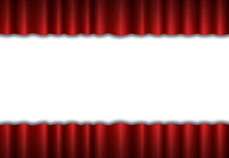 curtain to theater stage: Red theater silk curtain background with wave Illustration