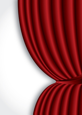 velvet fabric: Red theater silk curtain background with wave Illustration
