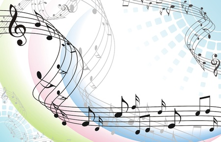 abstract music background with musical notes on white Illustration