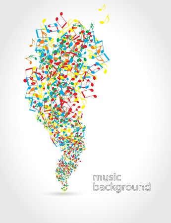 abstract music background with musical notes on white Vector