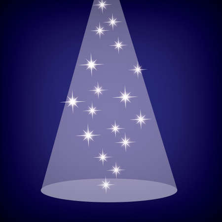 Stage spotlight with stars on blue, eps10  Stock Vector - 16209417