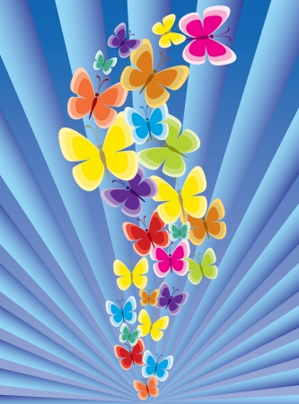Colorful background with butterfly, beautiful decorative background  Illustration