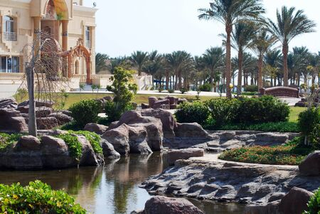 beautiful egyptian hotel with landscape design at a building Stock Photo - 17554356