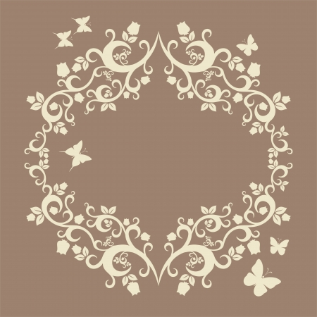bstract: brown or fallow beautiful illustration of floral ornament for your design