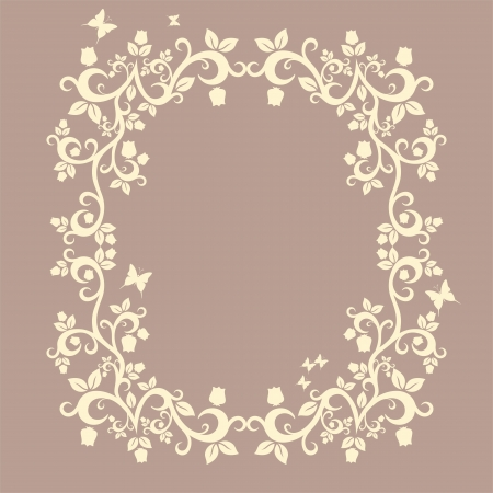 fallow: brown or fallow beautiful illustration of floral ornament for your design