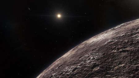 realistic exoplanet, beautiful alien planet in far space, detailed planet surface, science fiction wallpaper, cosmic landscape 3d render Foto de archivo