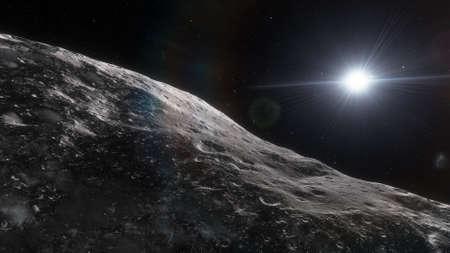 science fiction wallpaper, cosmic landscape, realistic exoplanet, beautiful alien planet in far space, detailed planet surface 3d render