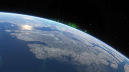 science fiction wallpaper, cosmic landscape, realistic exoplanet, beautiful alien planet in far space, detailed planet surface 3d render Foto de archivo