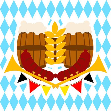 Oktoberfest Beer Barrel Banner.