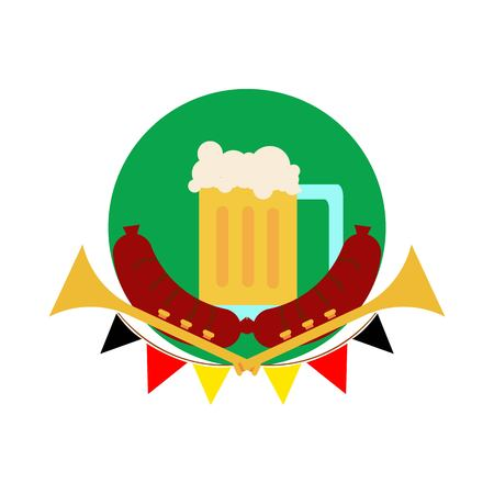 german sausage: Oktoberfest Common Glass of Beer.
