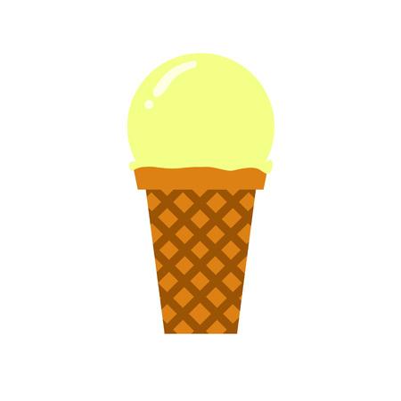 Vanilla Scooped Ice Cream Simple Flat Illustration Illustration
