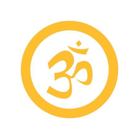 Simple Circular Yellow Om Symbol Illustration