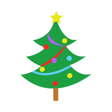 Fully Decorated Simple Pine Christmas Tree