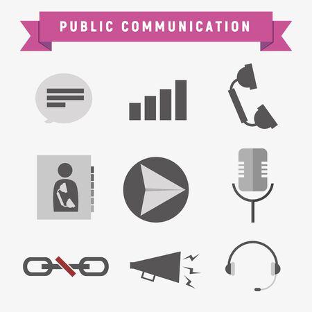 Public Communication Icon Set Vector Graphic Illustration Design