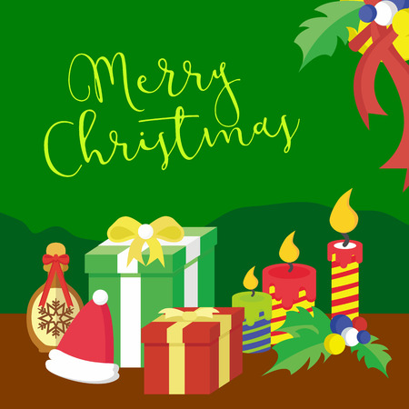 Merry Christmas gifts on green background, vector illustration. Illustration