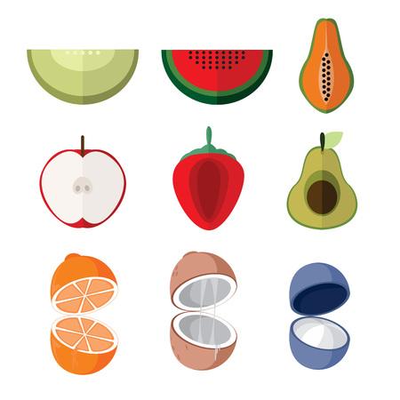 Einfacher geschnittener Fruchtillustrations-Grafikdesignsatz. Standard-Bild - 91793426