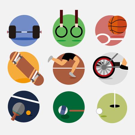 Circular Sport Emblem Vector Illustration Graphic Design Set
