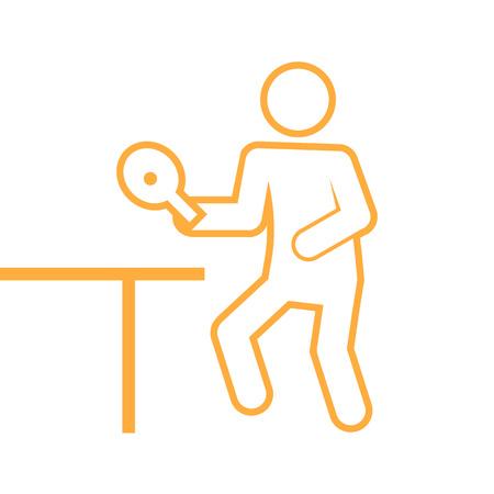 Table tennis outline figure symbol. Vector illustration graphic design.