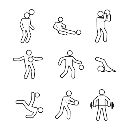 Active sport abstract outline figure symbol. Vector illustration graphic design.