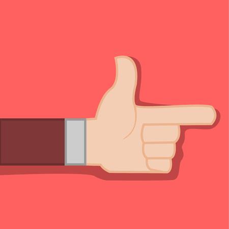 Finger Direction Gun Hand Gesture Vector Illustration Graphic Design Illustration
