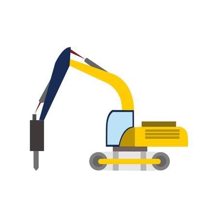 Digger Heavy Vehicle Transport Vector Illustration Graphic Design