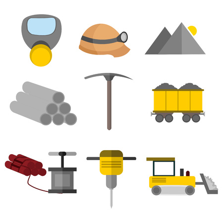 Flat Style Equipment Tool Mining Vector Illustration Graphic Design Set Illustration
