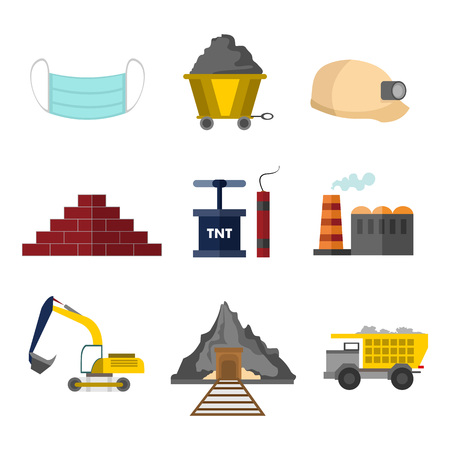 Flat Style Mining Related Vector Illustration Graphic Design Set