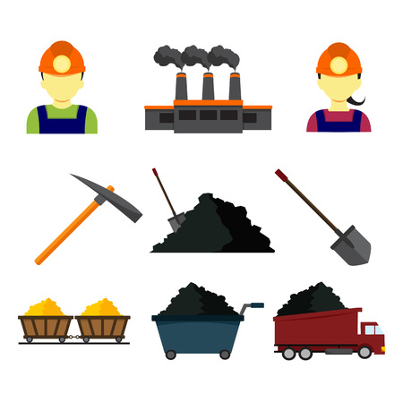 Simple Flat Style Mining Vector Illustration Graphic Design Set
