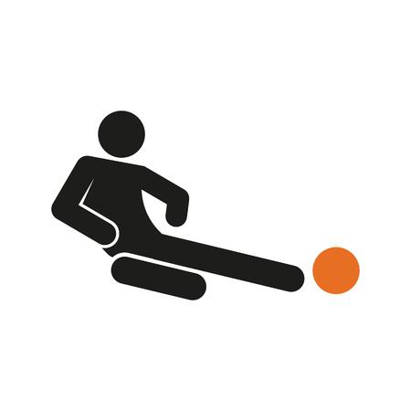 Simple Sliding Tackle Football Soccer Sport Figure Symbol  Illustration Graphic Design.