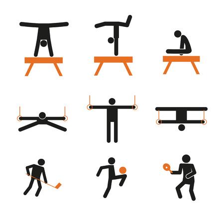 Simple Gymnastic Sport Abstract Symbol Vector Illustration Graphic Design Set