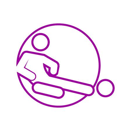 Circle Shape Sliding Tackle Football Soccer Sport Outline Figure Symbol Vector Illustration Graphic Design