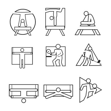 Divers forme contour Sport abstrait symbole Vector Illustration Design graphique Banque d'images - 92783577