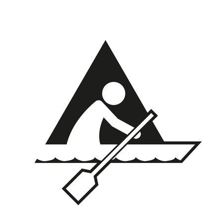 Triangle Block Canoe Sport Figure Outline Symbol Vector Illustration Graphic Design