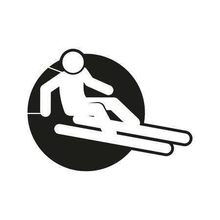 Skiing outline sport figure symbol vector illustration graphic design. Vectores