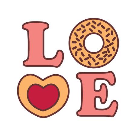Love Word Typography Donnut Vector Illustration Graphic Design