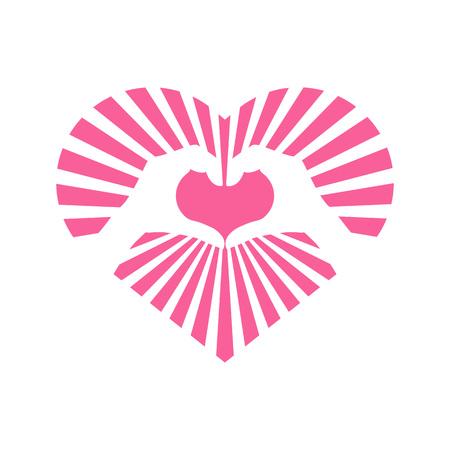 Love Heart Shinning Stripe Hand Gesture Vector Illustration Graphic Design Illustration