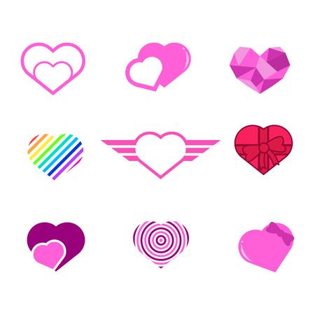 Various Love Heart Shapes Vector Illustration Graphic Design Set