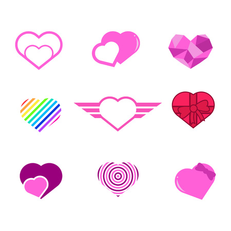 Various Love Heart Shapes Vector Illustration Graphic Design Set