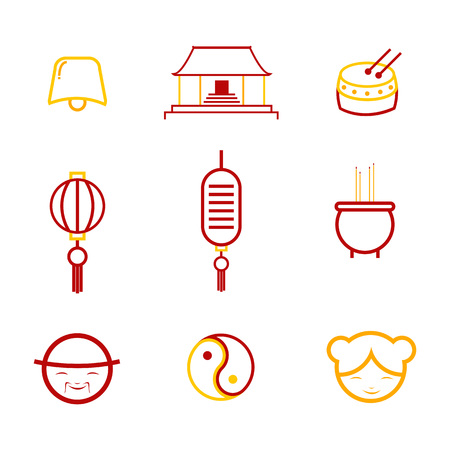 Abstract Chinese culture outline icon. Vector illustration graphic design. Ilustração