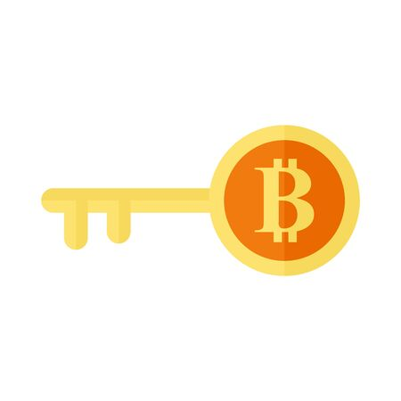 Bitcoin Key Symbol Vector Illustration Graphic Design