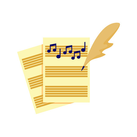 Writing music song tablature. Vector illustration graphic design.