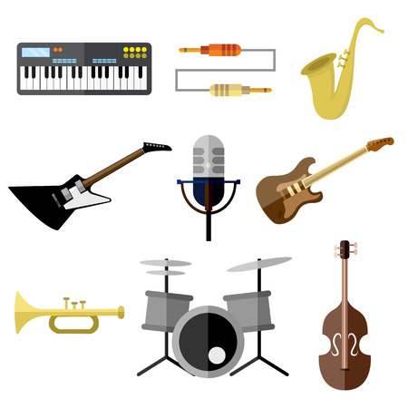 Music Intrument Band Equipment Vector Illustration Graphic Design Set