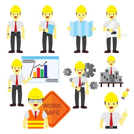Various Professional People Occupation Vector Illustration Graphic Design Set Vetores