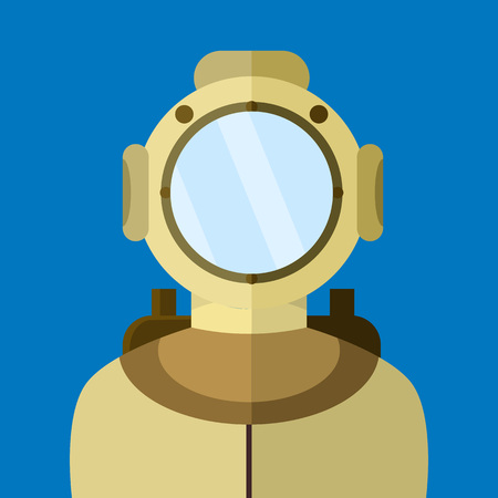 Diver in Old Suit Vector Illustration Graphic Design
