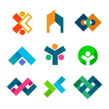 Abstract corporate block symbol vector illustration graphic design set Ilustração Vetorial